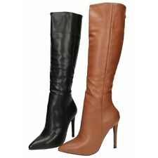 Ladies Black Brown Knee High Stiletto Heel Pointed Toe Sexy Faux Leather Boots