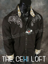 Mens HOUSE OF LORDS Button Shirt Brown Heavy Stitch with Stones Roar with Class