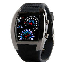 Men Lady Aviation Turbo LED Dial Flash Watches Gift Sports Car Meter Wrist Watch