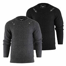Mens Brave Soul Chunky Knit Jumper Crew Neck Acrylic Knitted Sweater Top S-XL