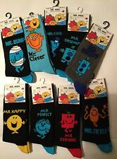 Mens Black Mr Men Socks - Bump Tickle Strong Happy Cool Grumpy Perfect Clever