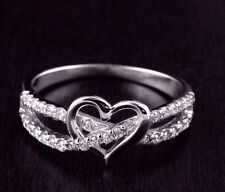 Women 925 Sterling Silver CZ Pave  Heart Promise Infinity Ring
