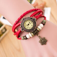 Quartz Weave Around Leather Snowflake Bracelet Lady Watches Woman Wrist Watch