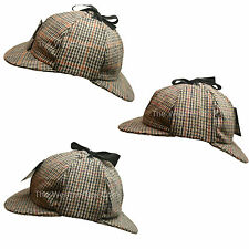 Country Wool Tweed Deerstalker Hat Sherlock Holmes Hunting Cap with Ear Flaps