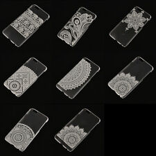 Ultra Thin Clear Hard PC Flower Pattern Back Case Cover For Samsung&iPhone Good