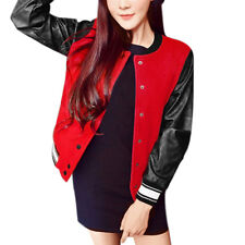 Women Stand Collar PU Panel Long Sleeves Button Closed Worsted Jacket