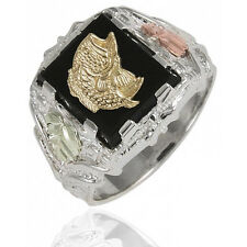 Black Hills Sterling Silver Men's Fish Ring with 12k Gold Leaves Size 9 to 14