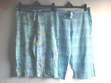 LADIES M&S SIZES 10 OR 14 BLUE MIX CROPPED PYJAMA BOTTOMS TAGGED FREE POSTAGE