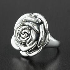 Womens 925 Sterling Silver Vintage Style Hollow Electoform Flower 25mm Ring