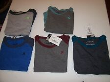 NEW HURLEY long raglan sleeve t shirt boys youth gray blue black sz 5 6 or 7