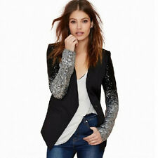 Womens Fashion Sequins Long Sleeve One Button Suit Blazer Jacket Casual Outwear