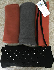 NWT Portolano 100% cashmere scarf women black grey charcoal orange brown