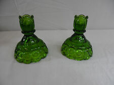 Vintage Green LE Smith Glass Moon & Stars Pair of Candle Holders
