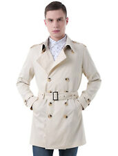 Men Split Lapel Double Breasted Belted Trench Coat
