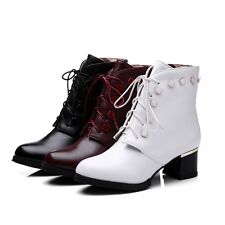 Vogue Womens New Lace-up Punk BootsPatent Leather Ankle Boots Motocycle Size