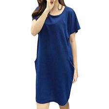 Women Round Neck Short Dolman Sleeves Split Sides Loose Tunic Dress