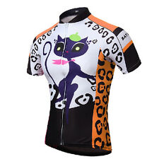Cat Girl Women Bike Clothing Short Sleeve Bicycle Cycling Jerseys Jacket Orange