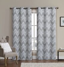 Marlie Set of 2 Printed Blackout Curtains, Taupe Woven Thermal Insulated Panels