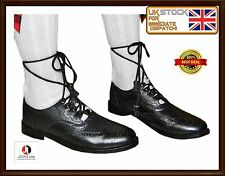 Ghillie Brogues Black Leather Ghillie Brogues Scottish Kilt Shoes UK Sizes 7-11