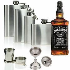 2 4 6 8 oz Retro Stainless Steel Hip Flask Pocket Whisky Liquor Vodka Holder Cup