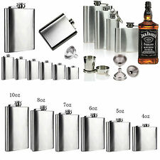 2 6 8 10 18oz Stainless Steel Hip Flask Liquor Whiskey Alcohol Bottle Funnel Cup
