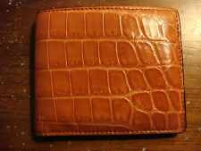 PRE-OWNED GUCCI Men's classic crocodile leather bifold wallet ITALY Orange, Tan
