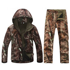 Camouflage Men's Sports Coats+Pants Warm Hooded Jackets Waterproof Hiking Suits