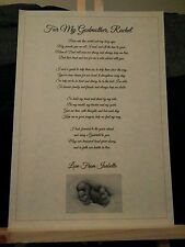 Personalised Christening Poem for godparents, godmother/godfather baptism gift