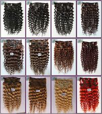 250g Luxury Thick Curly/Deep Wavy Clip in Real Human Hair Extensions,Full Head