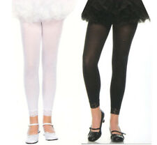 Music Legs 275 Child Tights Footless Lace Cuff Nylon Girls Size S M L XL White