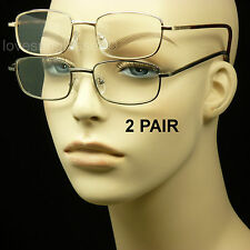 2 PAIR LOT SPRING HINGE METAL READING GLASSES CLEAR LENS STRENGTH MEN WOMEN PACK