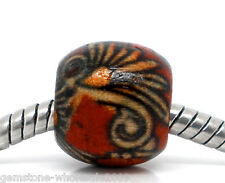 Wholesale Lots Red Painted Drum Wooden Beads Fit Charm Bracelet11x12mm