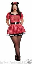 ADULTS WOMENS PLUS SIZE SEXY MOUSE MINNIE MOUSE ANIMAL RED COSTUME FANCY DRESS
