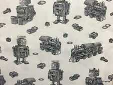 Trains Robots Bolts Black Off White 100% Cotton Fabric BTY Yard or HY t6/27