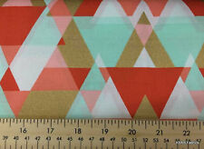 Coral Mint Triangle Arrow Fabric By the Yard Aztec Pyramid Gold Metallic a4/7
