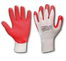 1 Pair LATEX COATED RUBBER WORK GLOVES SAFE BUILDER GRIP GARDENING ROUGHENED Red