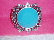 Gorgeous ART DECO Turquoise Silvertone CUFF Bracelet w/Brilliant Crystals  NEW