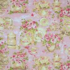 Pink Rose Tea Party Fabric Floral Cups Plates Hostess Cotton Fabric Yardage t1/8