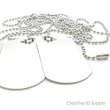 "LOT 50pc BLANK STAINLESS STEEL DOG TAG  SHINY/MATTE WITH 50pc 24"" S/S NECKLACES"
