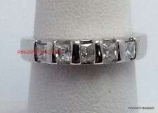 925 Sterling Silver Princess Cut Clear CZ Band Wedding Ring Size 9