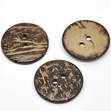 20 Brown Natural Coconut Shell Round Buttons 2 Holes Sewing Scrapbook Findings