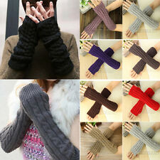 Womens Mens Long Fingerless Gloves Arm Warmer Knit Mitten Winter Unisex