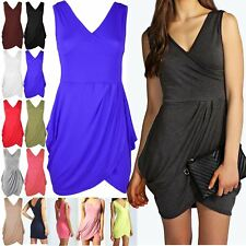 Womens Ladies Sleeveless Jersey Ruched Wrap Over Tunic Tulip Shape Mini Dress