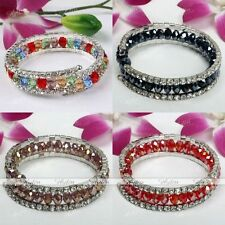 Women Faceted Crystal Glass Rhinestone Beads Wrap Cuff Bangle Bracelet Jewelry