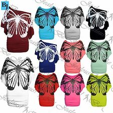 Womens Off the Shoulder Batwing Ladies Sequin Butterfly Print Side Ruched Top