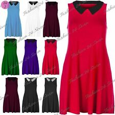 Womens Sleeveless Stretchy Top Ladies Contrast Collar Flared Franki Swing Dress
