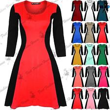 Womens Skater Dress Ladies Contrast Slimming Effect 3/4 Sleeve Flared Plus Size