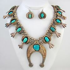 Navajo Sterling Silver & Turquoise Squash Blossom Necklace Earrings Set OWT │RS