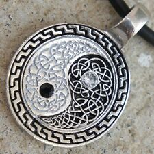 Feng Shui Magic Crystal Yin Yang Celtic Knot Element Earth Metal Pewter Pendant