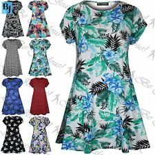 Womens Floral Doogtooth Print Short Sleeve Bodycon Ladies Flared Swing Dress